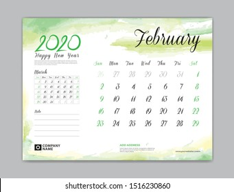 Calendar for 2020 year template, February month, Desk Calendar 2020, week start on sunday, planner design, stationery, business printing, watercolor background, vector eps10,  8 x 6 inch size