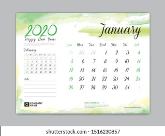 Calendar for 2020 year template, January month, Desk Calendar 2020, week start on sunday, planner design, stationery, business printing, watercolor background, vector eps10,  8 x 6 inch size