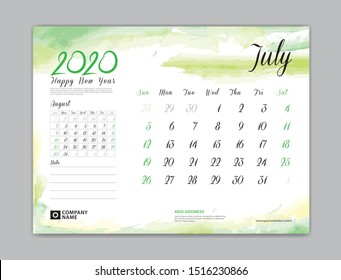 Calendar for 2020 year template, July month, Desk Calendar 2020, week start on sunday, planner design, stationery, business printing, watercolor background, vector eps10,  8 x 6 inch size