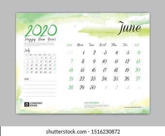 Calendar for 2020 year template, June month, Desk Calendar 2020, week start on sunday, planner design, stationery, business printing, watercolor background, vector eps10,  8 x 6 inch size