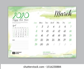 Calendar for 2020 year template, March month, Desk Calendar 2020, week start on sunday, planner design, stationery, business printing, watercolor background, vector eps10,  8 x 6 inch size