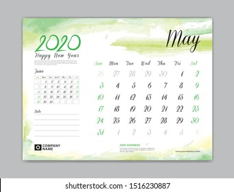 Calendar for 2020 year template, May month, Desk Calendar 2020, week start on sunday, planner design, stationery, business printing, watercolor background, vector eps10,  8 x 6 inch size