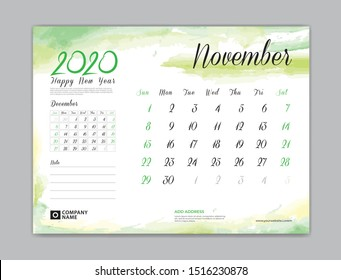 Calendar for 2020 year template, November month, Desk Calendar 2020, week start on sunday, planner design, stationery, business printing, watercolor background, vector eps10,  8 x 6 inch size