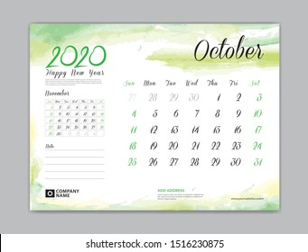Calendar for 2020 year template, October month, Desk Calendar 2020, week start on sunday, planner design, stationery, business printing, watercolor background, vector eps10,  8 x 6 inch size