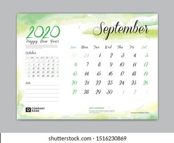 Calendar for 2020 year template, September month, Desk Calendar 2020, week start on sunday, planner design, stationery, business printing, watercolor background, vector eps10,  8 x 6 inch size