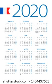 Calendar 2020 year - vector illustration. French version