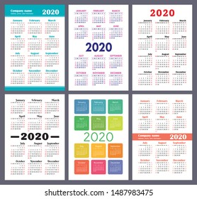 Calendar 2020 year. Vector template collection. Colorful English pocket calender set. Week starts on Sunday