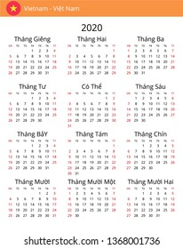 Calendar 2020 year for Vietnam country. Vietnamese language. In a portrait format without holidays. Week starts on Sunday