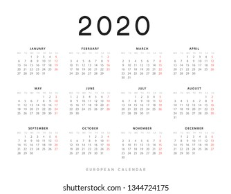 Calendar for 2020 year. Week starts on Monday. planner for 12 months. Vector calender in European