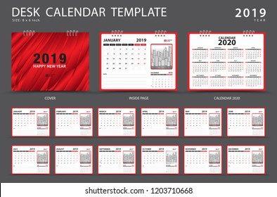 Calendar 2021, 2020 template, Desk calendar 2019 template, Set of 12 Months, Planner,  Week starts on Sunday, Stationery design, advertisement, Vector layout, red cover design, business brochure flyer