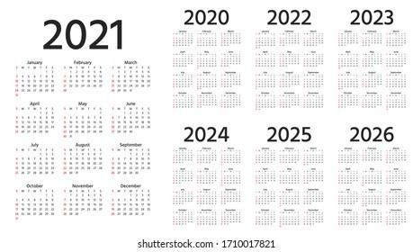 Calendario 2021, 2022, 2023, 2024, 2025, 2026, 2020 años. La semana empieza el domingo. Plantilla de año simple de caléndulas de bolsillo o de pared. Organizador anual. Diseño de diseño de fondo. Orientación vertical, inglés.