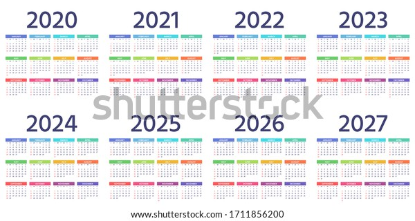 Calendrier Trial 2022 Calendar 2021 2022 2023 2024 2025 Stock Vector (Royalty Free
