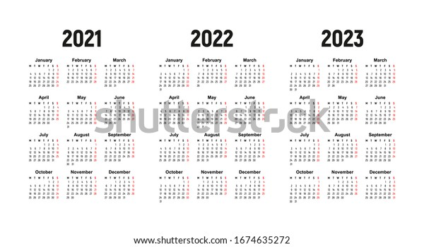 Vector de stock (libre de regalías) sobre calendario 2021, 2022 y