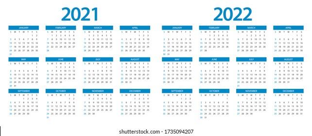 2022 2023 Calendar.Calendar 2021 Calendar 2022 Week Start Stock Vector Royalty Free 1735094207