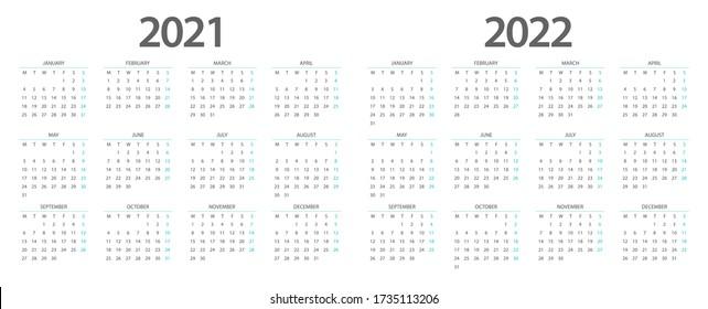 Calendar 2021, calendar 2022 week start Monday corporate design planner template.