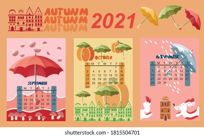 Calendar for 2021 by months.  Calendar for children autumn months. The calendar features umbrellas, cute animals and houses.  Calendar with multi-colored umbrellas. Vector illustration.