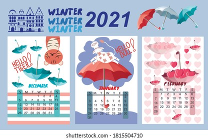 Calendar for 2021 by months.  Calendar for children winter months. The calendar features umbrellas, cute animals and houses.  Calendar with multi-colored umbrellas. Vector illustration.