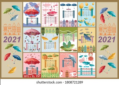 Calendar for 2021 by months. The calendar features umbrellas, cute animals and houses.  Calendar with multi-colored umbrellas. Vector illustration.