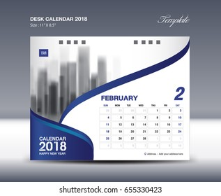 Calendar 2021 design, February, Desk Calendar 2018 Template flyer design vector, blue background