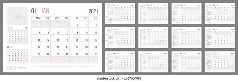 Calendar 2021 planner corporate template design set. Week starts on Monday. Basic grid - template for annual calendar 2021