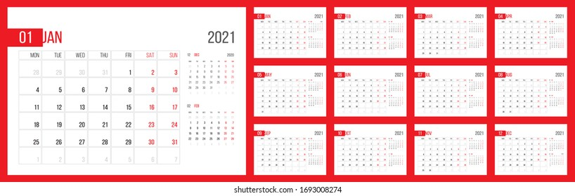 Calendar 2021 planner corporate template design set. Week starts on Monday. Basic grid - template for annual calendar 2021. Set of 12 months