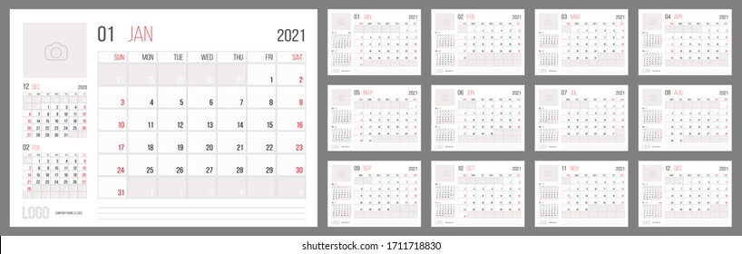 Calendar 2021 planner corporate template design set. Week starts on Sunday. Basic grid - template for annual calendar 2021
