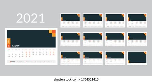 Calendar 2021 planner corporate template design set. Week starts on Monday.template for annual calendar 2021.