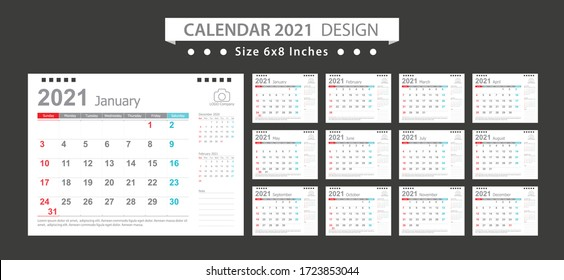 Calendar 2021, Set Desk Calendar template design with Place for Photo and Company Logo. Week Starts on Sunday. Set of 12 Months.