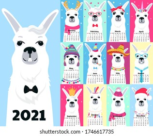 Calendar for 2021 from Sunday to Saturday. Cute llama in different costumes. Sombrero, birthday, sailor in a vest, unicorn, Santa Claus. Funny animal. Alpaca cartoon character
