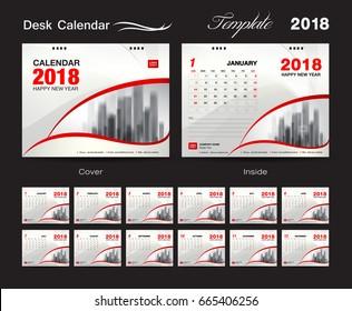 Calendar 2021 template, Desk Calendar 2018 Vector Design Template, Big set of Months, business calendar, Red and white  cover design, vintage design, advertisement
