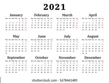 calendar 2021, week starts on Monday, basic business template. vector illustration
