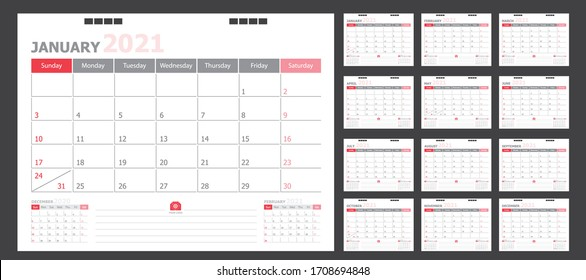 Calendar for 2021 White and red background