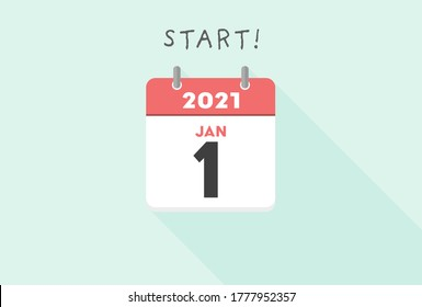 Calendar, the 2021, Winter, New year concept - Simple & stylish Vector design illustration.  Beginning of 2021 and JANUARY calendar on Light blue background. Good for new year's greeting.