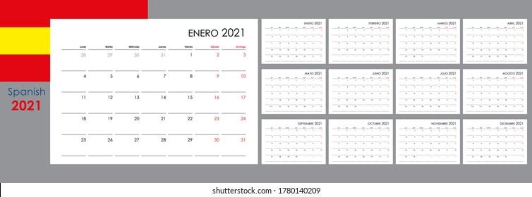 Calendario para 2021. Un organizador y planificador para todos los días. La semana comienza el lunes. 12 tablas, meses. Diseño de pared. Limpiar plantilla. Español.