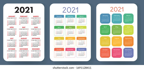 Calendar 2021 year set. Vector pocket or wall calender template collection. Week starts on Sunday. January, February, March, April, May, June, July, August, September, October, November, December