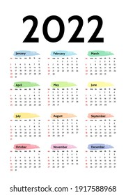 Calendar for 2022 isolated on a white background. Sunday to Monday, business template. Vector illustration