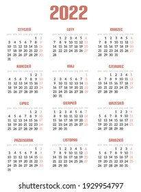 Calendar for 2022 year, brown vertical