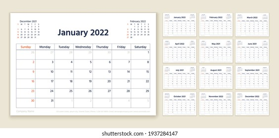Calendar 2022 year. Planner template. Week starts Sunday. Vector. Yearly stationery organizer. Calender layout. Table schedule grid. Horizontal monthly diary with 12 month. Simple illustration.