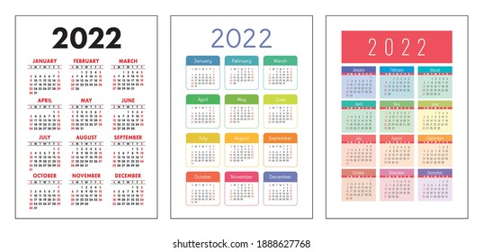 Calendar 2022 year set. Vector pocket or wall calender template collection. Week starts on Sunday.