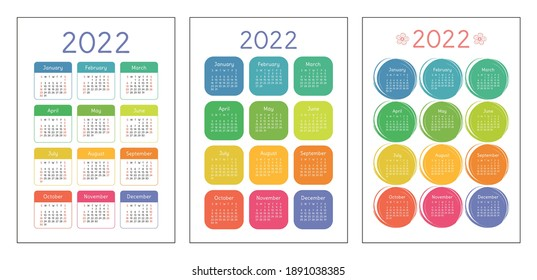 Calendar 2022 year set. Vector pocket or wall calender template collection. Week starts on Sunday. January, February, March, April, May, June, July, August, September, October, November, December