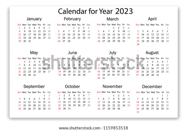 2023 2022 Calendar.Calendar 2023 Year Simple Style On Stock Vector Royalty Free 1159853518