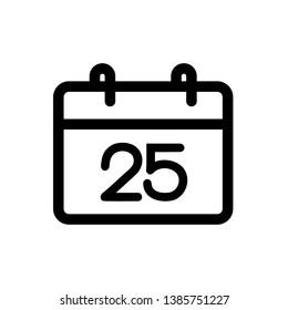 Calendar 25 icon, vector illustration. Flat design style. vector calendar 25 icon illustration isolated on white background, calendar 25 icon Eps10. calendar 25 icons graphic design vector symbols.