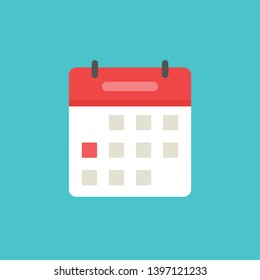 Calendar or agenda icon vector, flat cartoon schedule symbol with red date selected isolated on white background