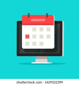 Calendar or agenda on computer screen vector illustration, flat cartoon online organizer app on pc display with event date reminder