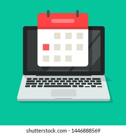 Calendar or agenda on laptop computer screen vector icon, flat cartoon online organizer app on pc display with event date reminder top view