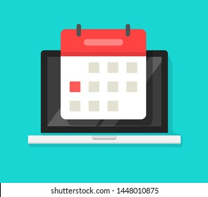 Calendar or agenda on laptop computer screen vector icon, flat cartoon online organizer app on pc display with event date reminder front view