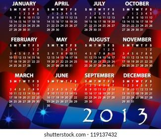 calendar for amazing 2013