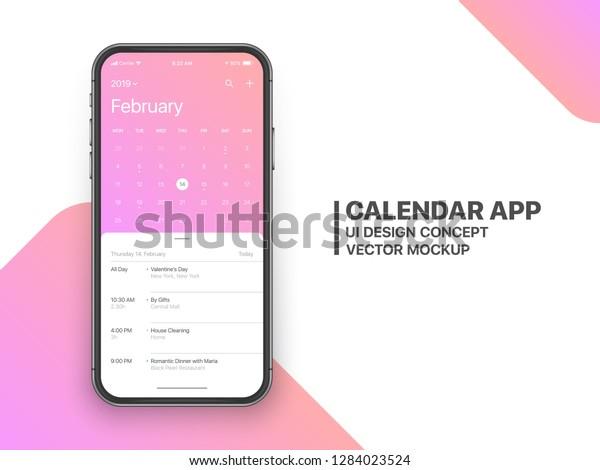 Calendar App Concept February 2019 Page Stock Vector