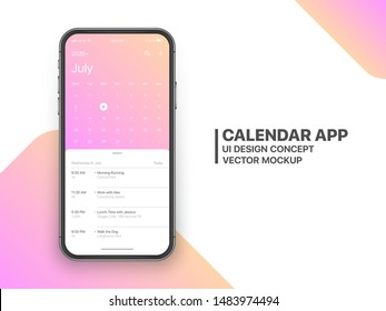 Calendar App Concept July 2020 Page with To Do List and Tasks UI UX Design Mockup Vector on Frameless Smartphone Screen Isolated on White Background. Planner Application Template for Mobile Phone