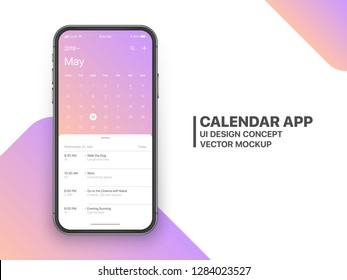 Calendar App Concept May 2019 Page with To Do List and Tasks UI UX Design Mockup Vector on Frameless Smartphone Screen Isolated on White Background. Planner Application Template for Mobile Phone